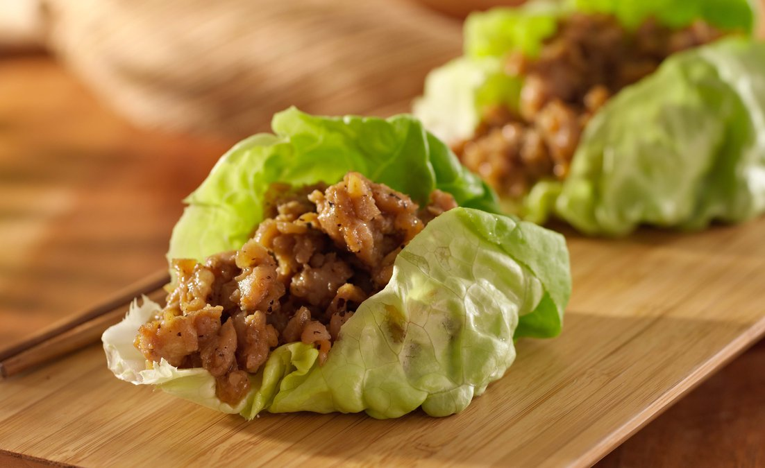 Yummy keto friendly turkey taco lettuce wrap.
