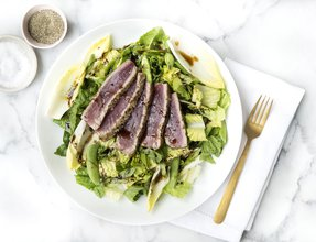 Satisfying low carb seared tuna salad with balsamic dressing.